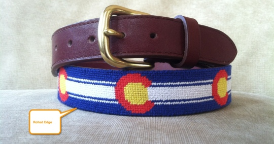 Needlepoint Belt Rolled Edge